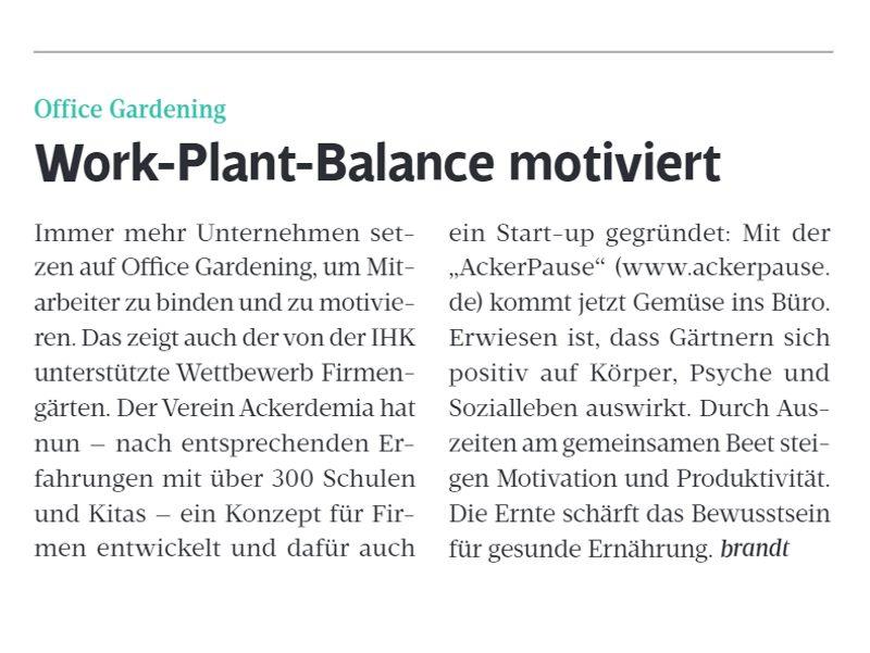 Ackerpause Presse IHK Bericht