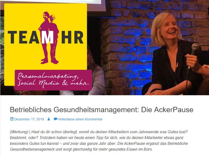 Ackerpause Presse Bericht Team HR